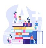 Παιδιά που μαθαίνουν την έννοια Άριστοι μαθητές, που εγκωμιάζουν τους γονείς και τους δασκάλους με τα τεράστια βιβλία Διάνυσμα σχ ελεύθερη απεικόνιση δικαιώματος