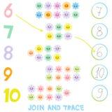 Παιδιά που μαθαίνουν το υλικό αριθμού 6 έως 10 Ενώστε και επισημάνετε Απεικόνιση του μετρώντας παιχνιδιού εκπαίδευσης για τα προσ ελεύθερη απεικόνιση δικαιώματος