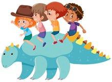 Παιδιά που οδηγούν έναν δεινόσαυρο διανυσματική απεικόνιση
