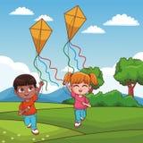 Παιδιά που παίζουν στα κινούμενα σχέδια πάρκων ελεύθερη απεικόνιση δικαιώματος