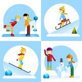 Παιδιά που παίζουν τους χειμερινούς αγώνες Απεικόνιση αποθεμάτων