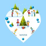 Παιδιά που παίζουν τους χειμερινούς αγώνες Διανυσματική απεικόνιση
