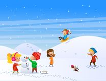 Παιδιά που παίζουν υπαίθρια το χειμώνα διανυσματική απεικόνιση