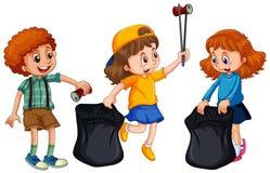 Παιδιά που συλλέγουν τα σκουπίδια στο άσπρο υπόβαθρο διανυσματική απεικόνιση