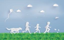 Παιδιά που τρέχουν τον τομέα Στοκ εικόνα με δικαίωμα ελεύθερης χρήσης