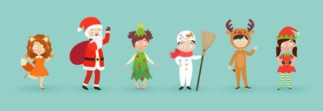 Παιδιά που φορούν τα κοστούμια Χριστουγέννων απεικόνιση αποθεμάτων