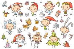 Παιδιά Χριστουγέννων καθορισμένα απεικόνιση αποθεμάτων
