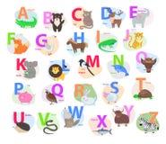 Παιδιά ABC με το χαριτωμένο επίπεδο διάνυσμα κινούμενων σχεδίων ζώων ελεύθερη απεικόνιση δικαιώματος