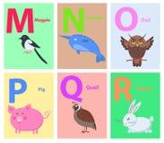 Παιδιά ABC με το χαριτωμένο επίπεδο διάνυσμα κινούμενων σχεδίων ζώων διανυσματική απεικόνιση