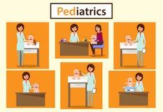 Παιδιατρικό τμήμα Διαβουλεύσεις παιδιάτρων απεικόνιση αποθεμάτων