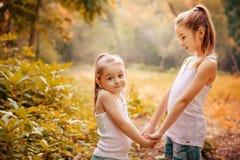 Παιδική ηλικία, οικογένεια, φιλία και έννοια ανθρώπων - δύο ευτυχείς αδελφές παιδιών που αγκαλιάζουν υπαίθρια Στοκ Φωτογραφίες