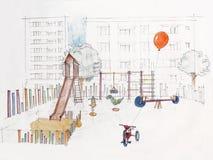 παιδική χαρά s παιδιών υπαίθρια που σκιαγραφείται Στοκ Εικόνες
