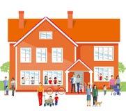 Παιδικός σταθμός με τους γονείς και τις οικογένειες απεικόνιση αποθεμάτων