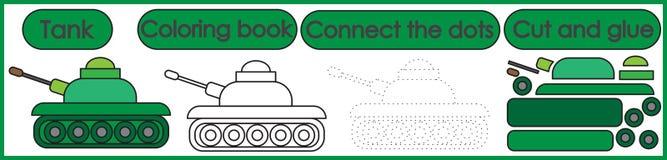 Παιχνίδια για τα παιδιά 3 σε 1 Χρωματίζοντας το βιβλίο, συνδέστε τα σημεία, κόβει ελεύθερη απεικόνιση δικαιώματος