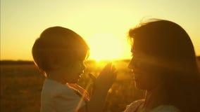 Παιχνίδια μητέρων με την λίγη κόρη στο πάρκο στο ηλιοβασίλεμα το παιδί κάθεται στα όπλα της μητέρας Η ευτυχής οικογένεια περπατά  φιλμ μικρού μήκους