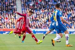 Παιχνίδια του Antoine Griezmann στην αντιστοιχία Λα Liga μεταξύ RCD Espanyol και Ατλέτικο de Μαδρίτη στο στάδιο Powerade Στοκ φωτογραφίες με δικαίωμα ελεύθερης χρήσης