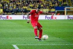 Παιχνίδια του Nathaniel Clyne στη ημιτελική αντιστοιχία ένωσης της Ευρώπης μεταξύ Villarreal του ΘΦ και του Λίβερπουλ FC Στοκ φωτογραφία με δικαίωμα ελεύθερης χρήσης