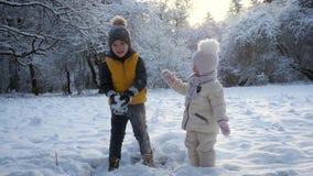 Παιχνίδι αδελφών και αδελφών στο χιόνι απόθεμα βίντεο