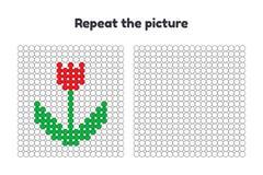 παιχνίδι για τα προσχολικά παιδιά Επαναλάβετε την εικόνα Χρωματίστε τους κύκλους λευκό τουλιπών απομόνωσης λουλουδιών Στοκ Εικόνες