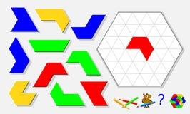 Παιχνίδι γρίφων λογικής για τα παιδιά και τους ενηλίκους Βρείτε τη σωστή θέση για κάθε λεπτομέρεια και χρωματίστε την εικόνα στα  ελεύθερη απεικόνιση δικαιώματος