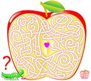 Παιχνίδι γρίφων λογικής με το λαβύρινθο για τα παιδιά και τους ενηλίκους Βοηθήστε την κάμπια να βρεί τον τρόπο στο κέντρο του μήλ Στοκ εικόνες με δικαίωμα ελεύθερης χρήσης