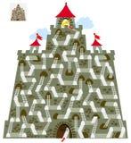 Παιχνίδι γρίφων λογικής με το λαβύρινθο για τα παιδιά και τους ενηλίκους Βρείτε τον τρόπο στο κάστρο μέχρι τον πύργο με το κλειδί Στοκ φωτογραφία με δικαίωμα ελεύθερης χρήσης