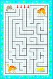 Παιχνίδι γρίφων λογικής με το λαβύρινθο για τα παιδιά σε τετραγωνικό χαρτί Βοηθήστε το ποντίκι να βρεί τον τρόπο μέχρι το τυρί Σύ Στοκ Φωτογραφία