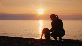 Παιχνίδι γυναικών με ένα σκυλί από τη λίμνη στο ηλιοβασίλεμα απόθεμα βίντεο