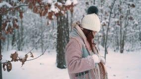 Παιχνίδι γυναικών με το χιόνι στο πάρκο, σε αργή κίνηση φιλμ μικρού μήκους