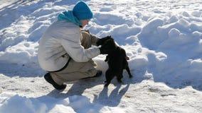 Παιχνίδι διασκέδασης εφήβων αγοριών με τα σκυλιά κουταβιών το χειμώνα στο χιόνι φιλμ μικρού μήκους