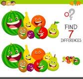 Παιχνίδι διαφορών με τους χαρακτήρες φρούτων διανυσματική απεικόνιση
