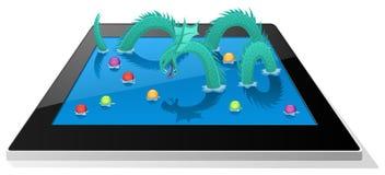 Παιχνίδι δράκων θάλασσας στην ψηφιακή ταμπλέτα Στοκ Εικόνες