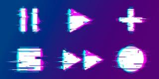 Παιχνίδι δυσλειτουργίας, μικρή διακοπή, αρχείο, κουμπιά παιχνιδιού διανυσματική απεικόνιση