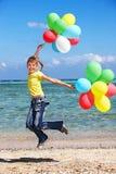 παιχνίδι κατσικιών παραλιών μπαλονιών Στοκ Εικόνα