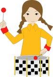 παιχνίδι κοριτσιών τυμπάνων διανυσματική απεικόνιση