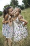 Παιχνίδι κοριτσιών φίλων παιδιών που ψιθυρίζει στη χλόη λουλουδιών στο vac Στοκ Εικόνα