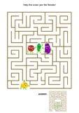 Παιχνίδι λαβυρίνθου με το κρεμμύδι και τους φυτικούς φίλους του απεικόνιση αποθεμάτων