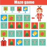 Παιχνίδι λαβυρίνθου Φύλλο δραστηριότητας παιδιών Λαβύρινθος λογικής με τη ναυσιπλοΐα κώδικα Νέο έτος, θέμα Χριστουγέννων απεικόνιση αποθεμάτων