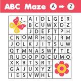 Παιχνίδι λαβυρίνθου ABC: θέμα ζώων Η πεταλούδα βοήθειας βρίσκει το λουλούδι Δραστηριότητα για τα παιδιά και τα παιδιά, αγγλικό αλ απεικόνιση αποθεμάτων