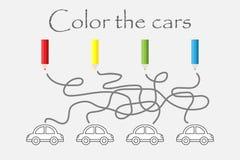 Παιχνίδι, λαβύρινθος και χρωματισμός λαβύρινθων των αυτοκινήτων, προσχολική δραστηριότητα φύλλων εργασίας για τα παιδιά, στόχος γ διανυσματική απεικόνιση