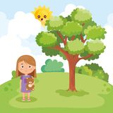 Παιχνίδι μικρών κοριτσιών στο πάρκο διανυσματική απεικόνιση