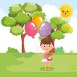 Παιχνίδι μικρών κοριτσιών στο πάρκο απεικόνιση αποθεμάτων