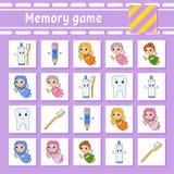 Παιχνίδι μνήμης για τα παιδιά r Σελίδα δραστηριότητας με τις εικόνες Παιχνίδι γρίφων για τα παιδιά Λογική σκέψη απεικόνιση αποθεμάτων