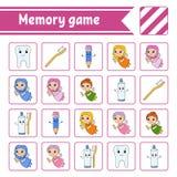 Παιχνίδι μνήμης για τα παιδιά r Σελίδα δραστηριότητας με τις εικόνες Παιχνίδι γρίφων για τα παιδιά Λογική σκέψη ελεύθερη απεικόνιση δικαιώματος