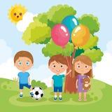 Παιχνίδι ομάδας παιδάκι στο πάρκο διανυσματική απεικόνιση