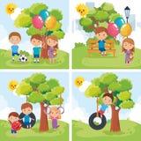 Παιχνίδι ομάδας παιδάκι στο πάρκο απεικόνιση αποθεμάτων