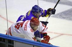 Παιχνίδι Ουκρανία πάγος-χόκεϋ εναντίον της Πολωνίας Στοκ Εικόνα