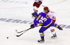 Παιχνίδι Ουκρανία πάγος-χόκεϋ εναντίον της Πολωνίας Στοκ φωτογραφία με δικαίωμα ελεύθερης χρήσης