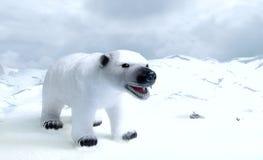 Παιχνίδι πολικών αρκουδών στο νεφελώδη ουρανό στο πολικό τοπίο Στοκ εικόνα με δικαίωμα ελεύθερης χρήσης