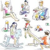 παιχνίδι 2 παιδιών διανυσματική απεικόνιση